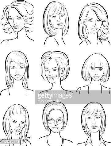 362x473 Whiteboard Drawing Beautiful Women Faces Collection Stock Vectors