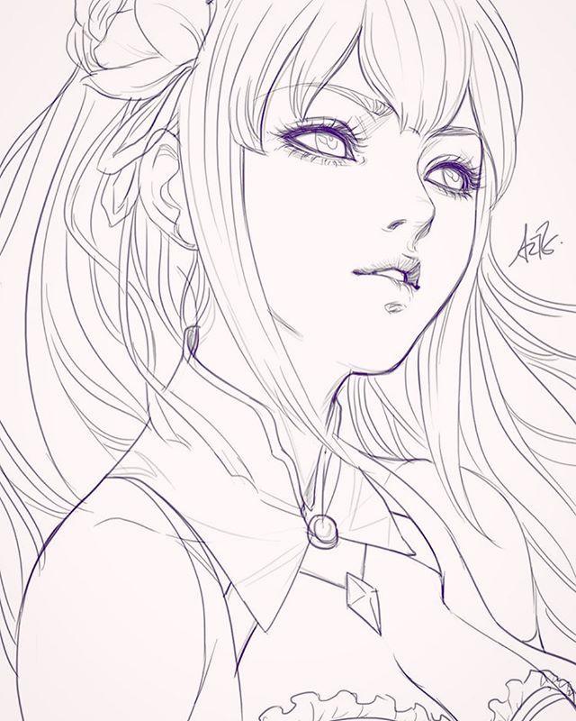 640x800 Photos Anime Girl Face Sketch,