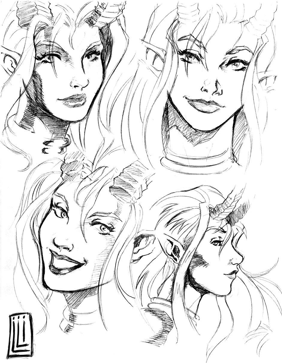 941x1211 Devil Girl Faces Design By Lucio7lopez