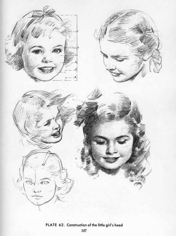 571x768 Drawing Reference. Construction Of The Little Girl's Head.