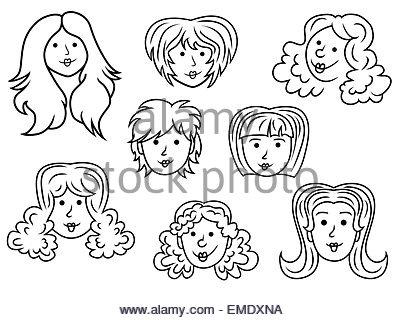 400x320 Hand Drawing Women Hair Style Set For Hairdresser Design Stock