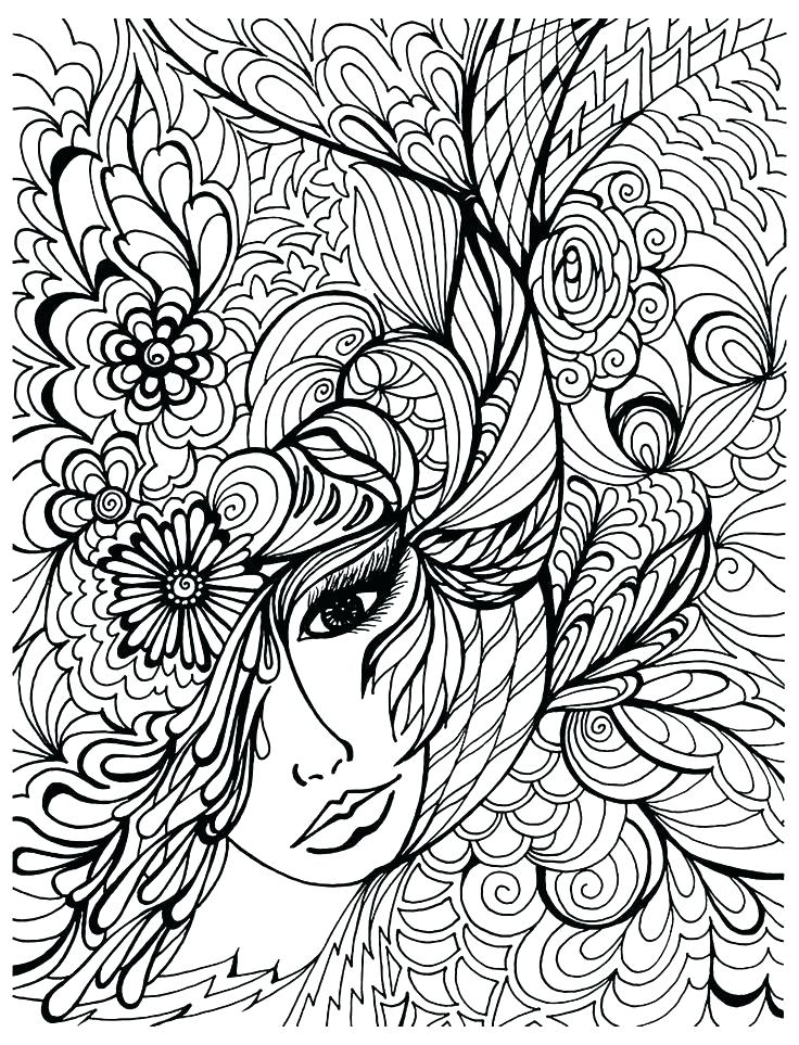 736x963 Pretty Hard Animal Coloring Pages Kids Printable Women Face