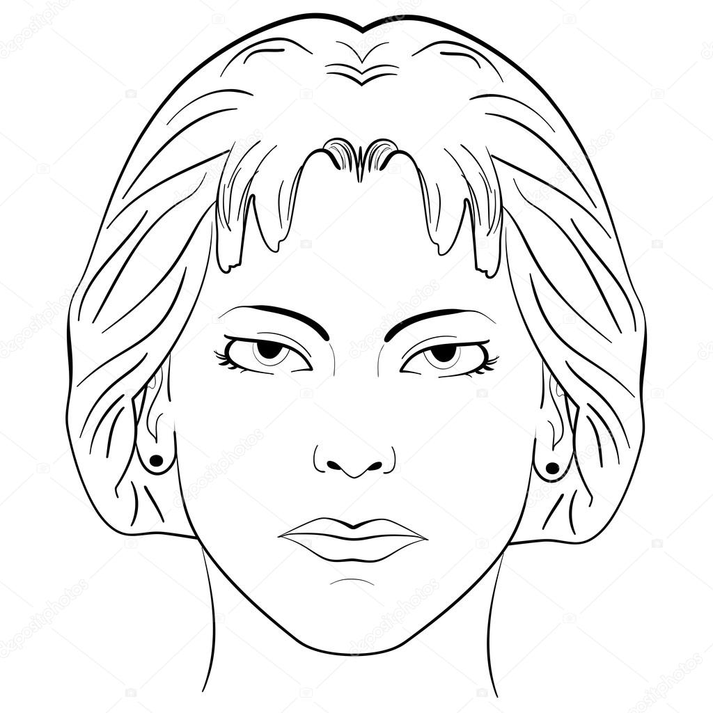 1024x1024 Ink Sketch Head Women Face Pattern Stock Vector Tiverets