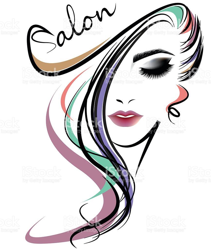 867x1024 Women Hair Style Icon, Logo Women Face On White Background Royalty