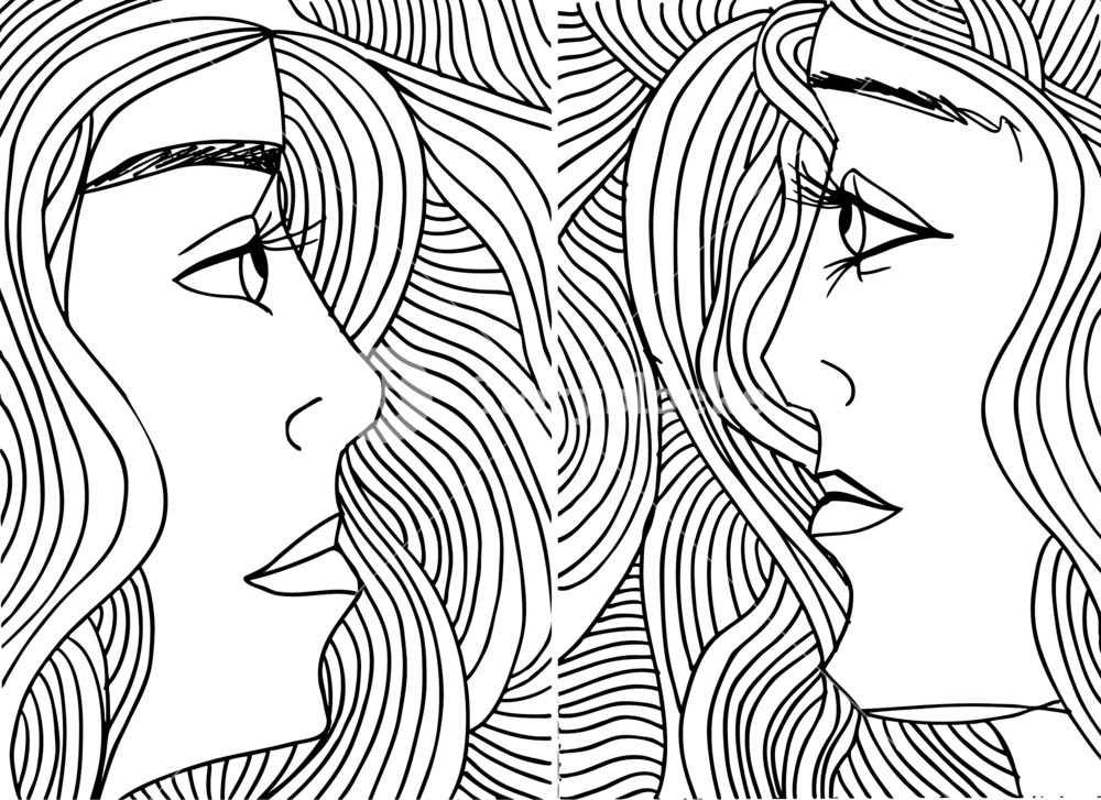 1000x727 Abstract Sketch Of Women Face. Vector Illustration. Royalty Free