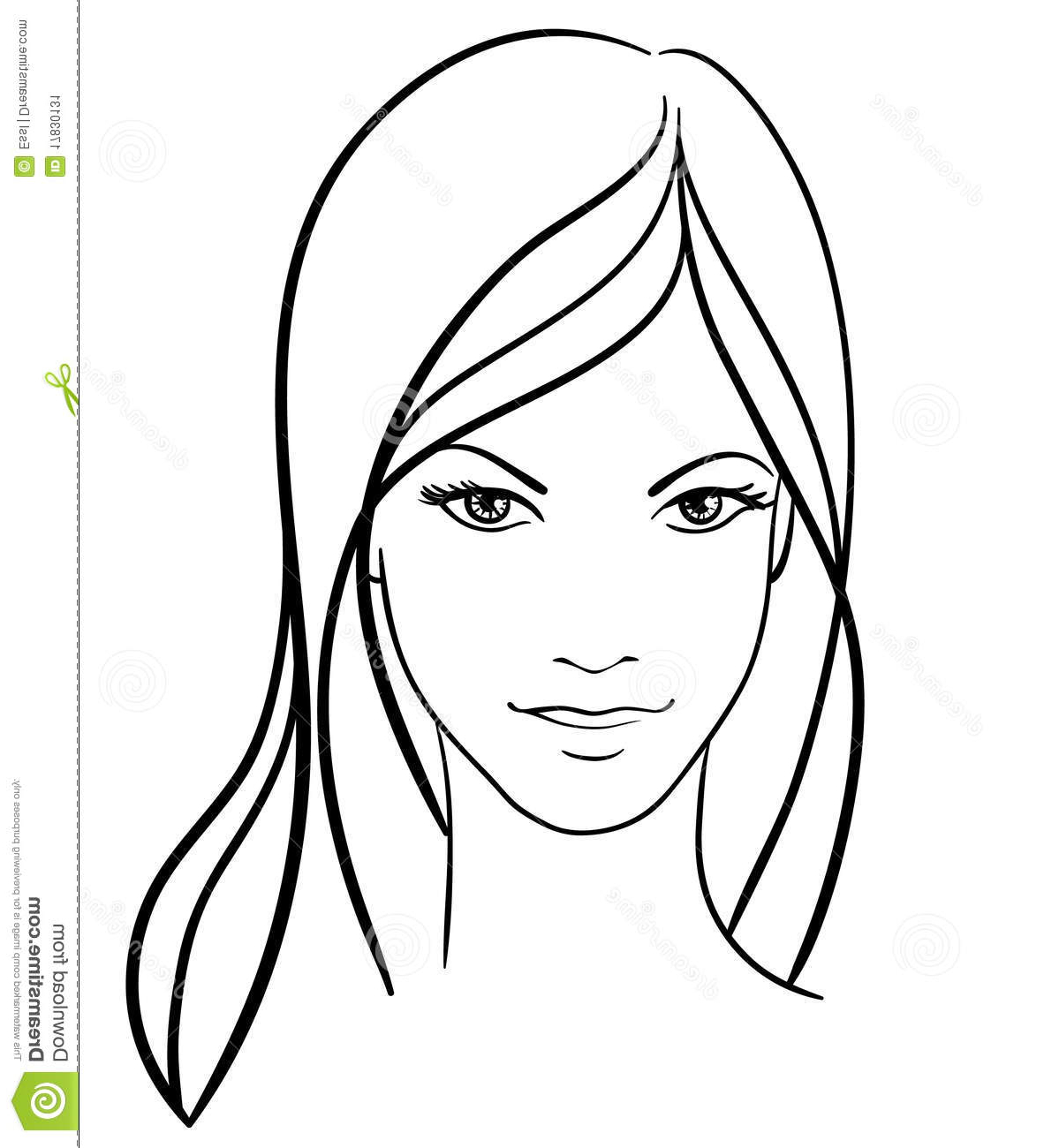 1199x1300 Girl Face Draw Simple