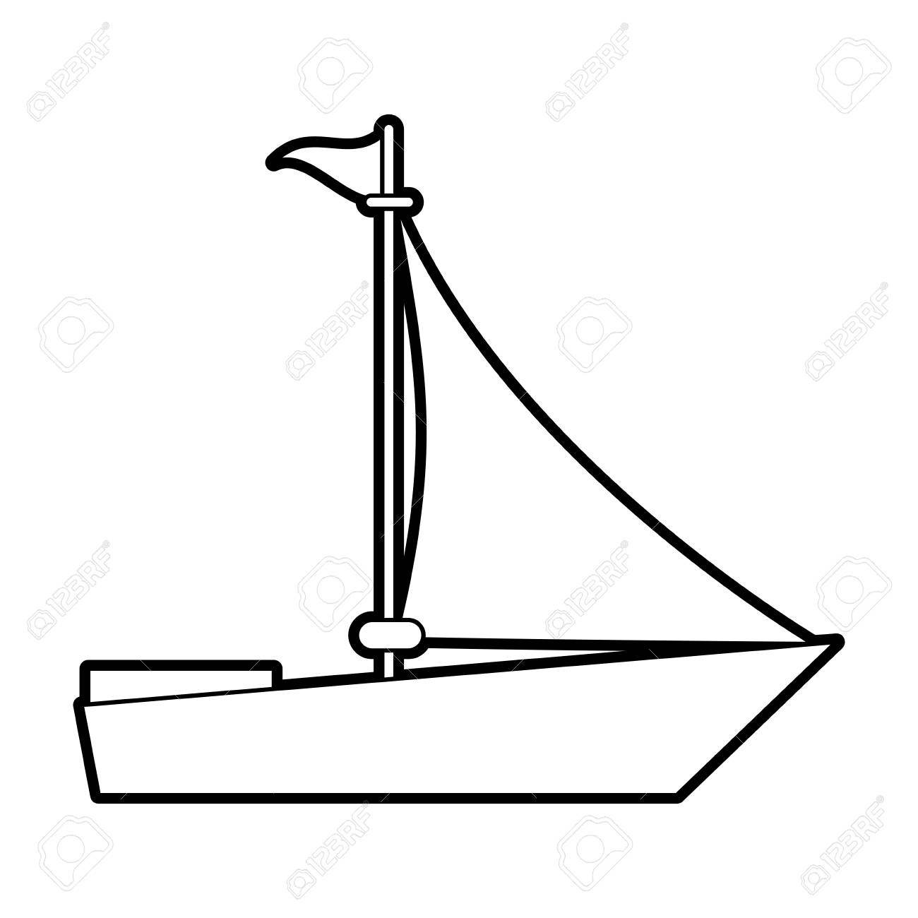 1300x1300 Sketch Silhouette Image Wooden Boat With Sail Vector Illustration