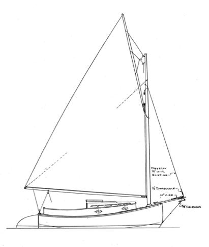 411x485 Wittholz 17' Catboat Sailboat Boat Plans, Boating