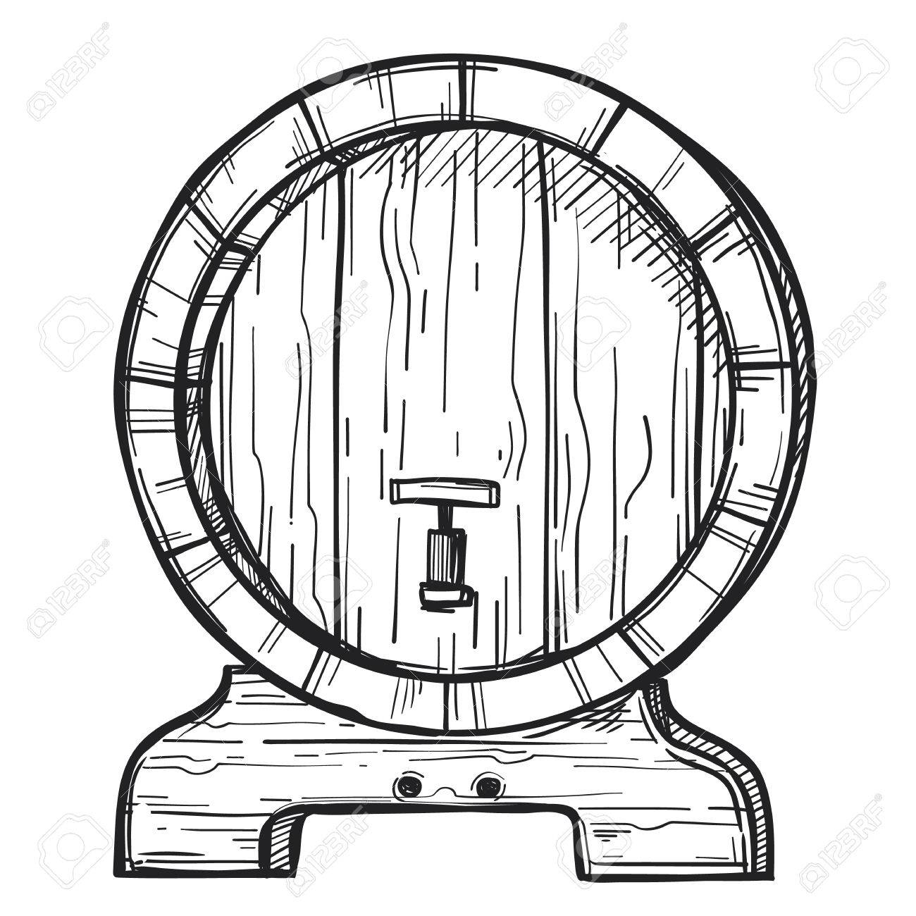 1300x1300 Wooden Barrel Freehand Pencil Drawing Isolated On White Background