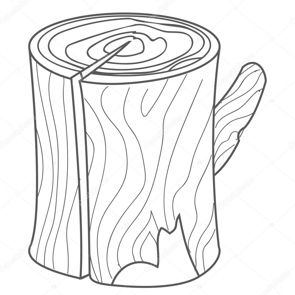 1024x1024 Wooden Stump, Wood Log In Cartoon Style Outline Drawing. Stock