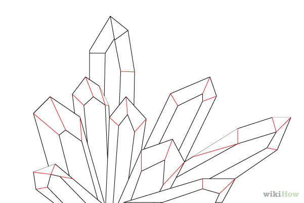601x401 Cluster Of Crystals Drawing
