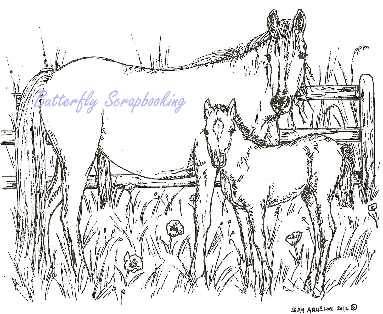 1600x1312 Horse Mare And Foal Fence Wood Mounted Rubber Stamp Northwoods