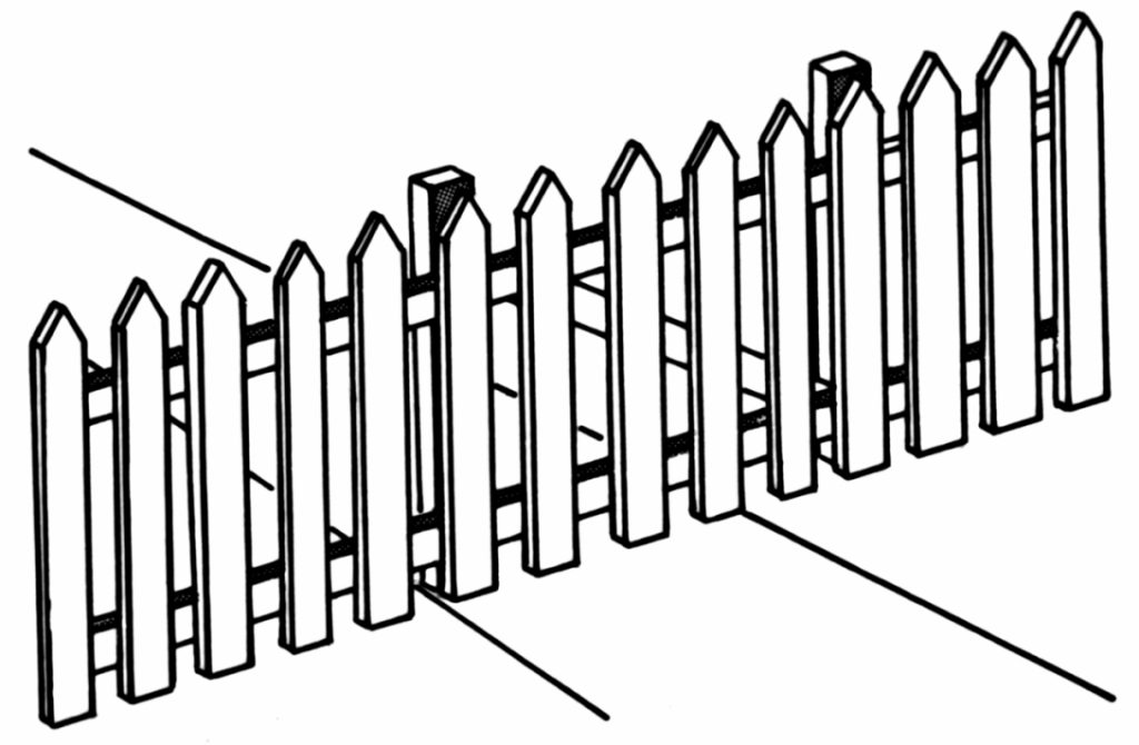 1024x670 Picket Fence Drawing 2in Spaced Picket Wood F 47148