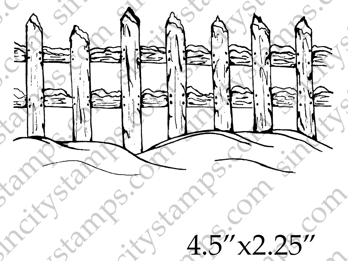 1200x900 Winter Snowscape Wood Fence Border Rubber Art Stamp Pam Bray
