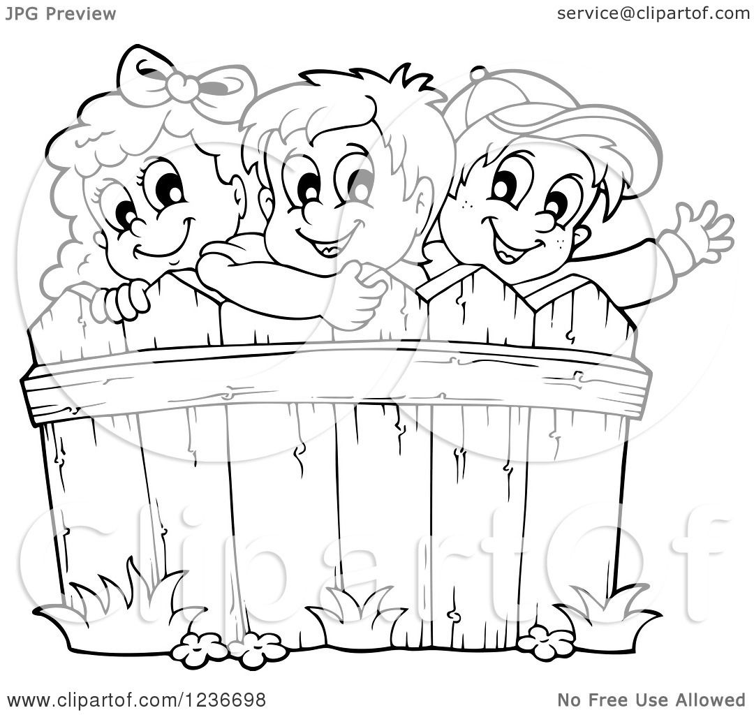 1080x1024 Clipart Of Black And White Happy Children Looking Over A Wooden
