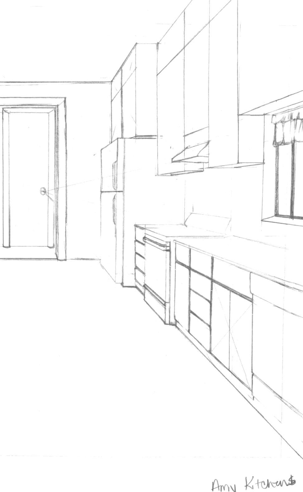 972x1578 Elegant Hand Drawing Of Living Room Classic Sofa