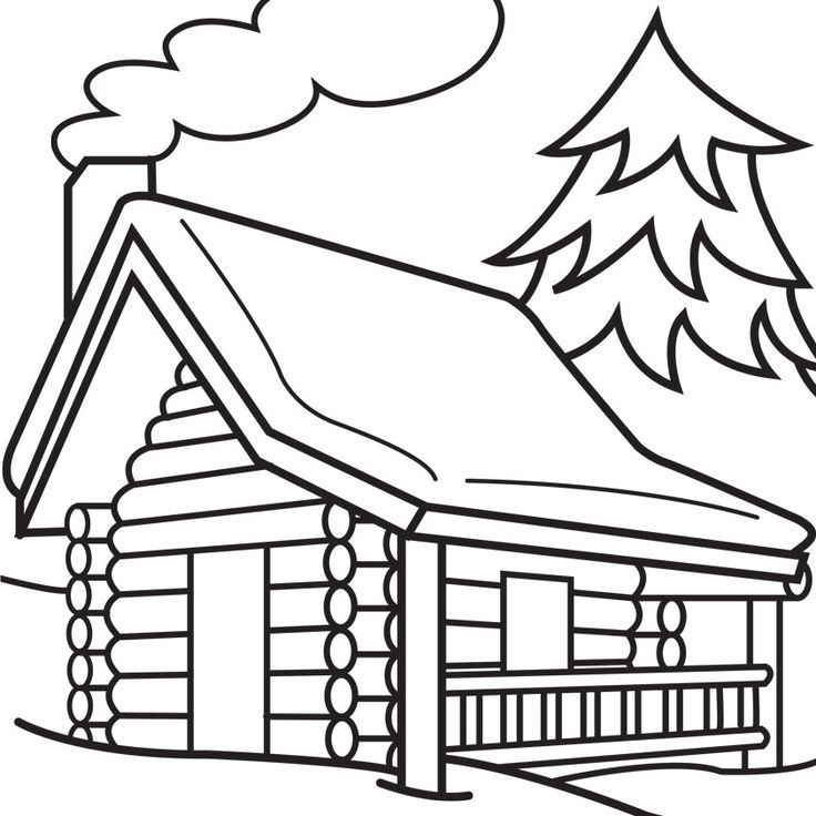 736x736 Quaint Little Log House Cartoon Black And White In Winter Doodles