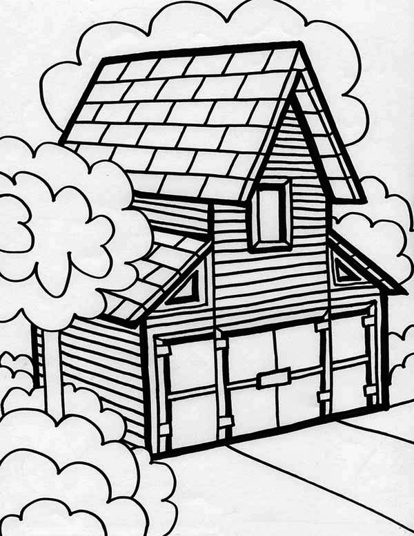 600x776 Big Barn House In Houses Coloring Page Color Luna