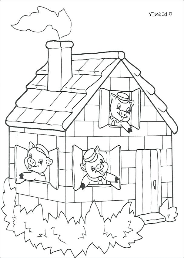 607x850 Coloring Pages Houses Three Little Pigs Coloring Pages The Wood