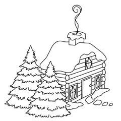 240x240 Christmas Log House Rubber Stamp Digi Stamp Logs