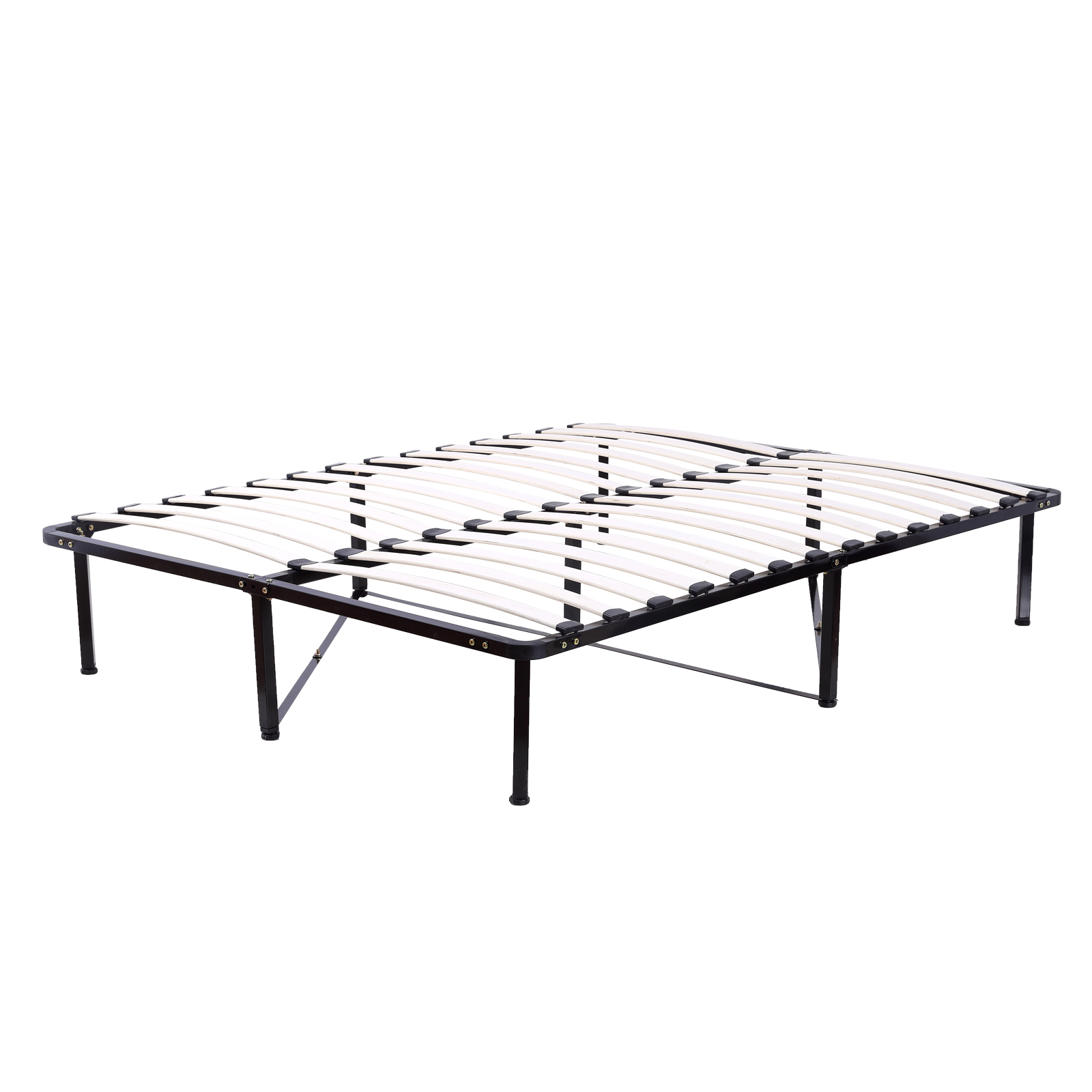 1600x1600 Wood Slats Metal Platform Bed Frame Full Size Mattress Foundation