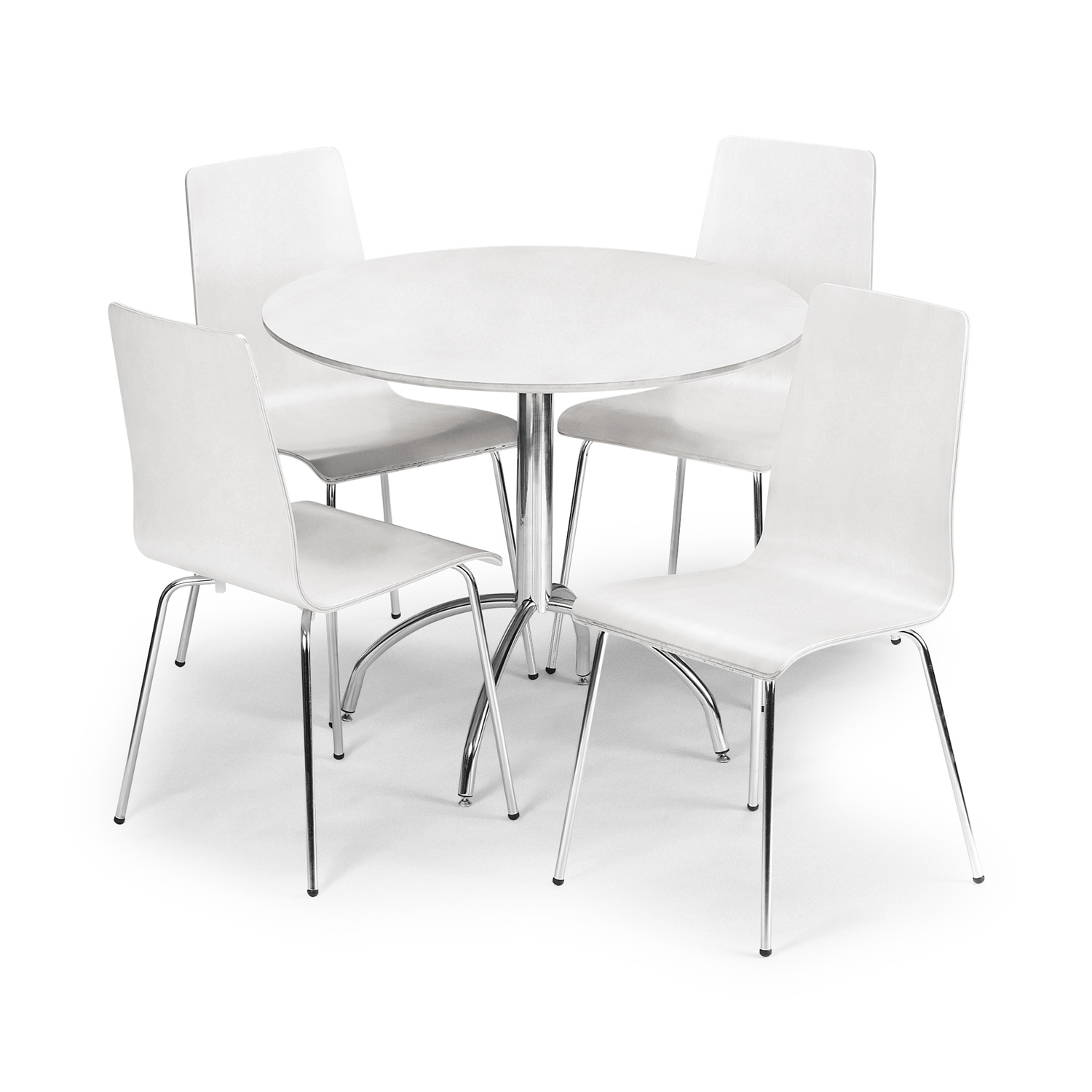 1500x1500 Round White Dining Table On Chrome Pedestal Base Combined By White