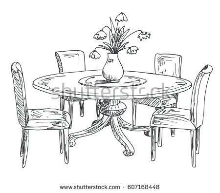 450x396 Texas Sauce Art Life Sketch Of Table And Two Chairs. Id Render How