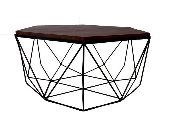 600x450 Buy Online Hexagon Dark Brown Mango Wood Amp Black Metal Frame Large