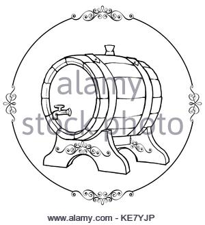 300x329 Hand Drawn Vintage Wooden Wine Cask. Drink, Oak Barrel Sketch