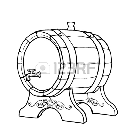 450x450 Vector Sketch Illustration Of A Wooden Wine Barrel With The Faucet