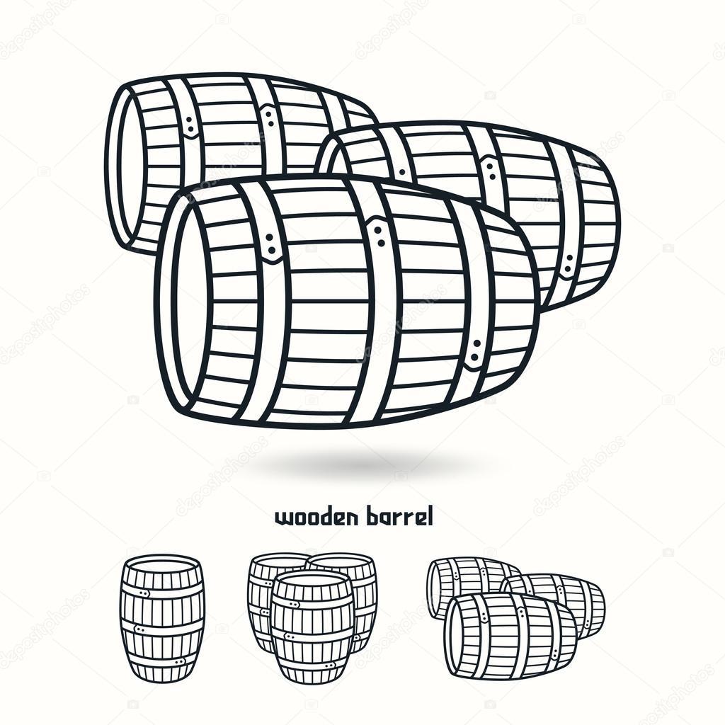 1024x1024 Wooden Barrel. Design Elements For Labels Stock Vector