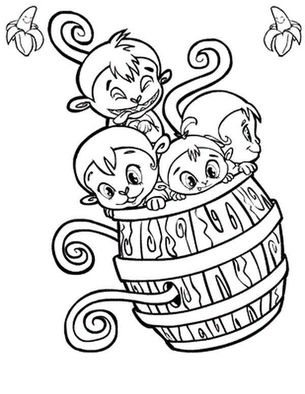 600x776 Four Monkey Play With A Wooden Barrel Coloring Page
