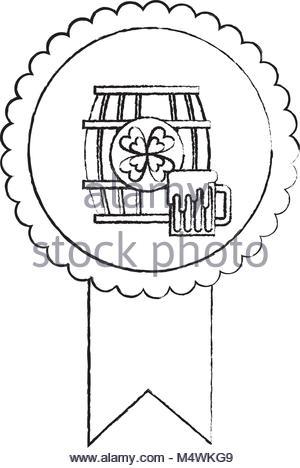 300x468 Rosette Badge With Wooden Barrel Beer Stock Vector Art