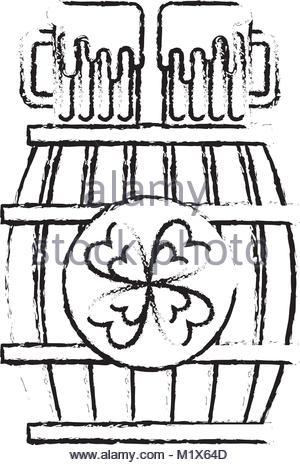 300x465 Wooden Barrel Of Beer With Clover Stock Vector Art Amp Illustration