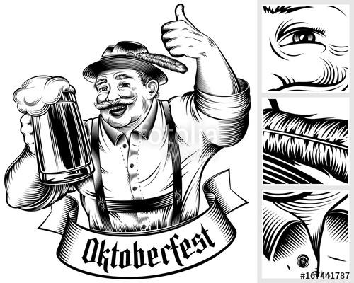 500x400 Bavarian Man Holding Glass Of Beer. Lettering Oktoberfest