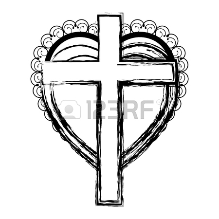 450x450 Silhouette Heart Decorative Frame With Brown Wooden Cross Inside