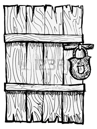 338x450 Old Wooden, Closed Door With A Lock Royalty Free Cliparts, Vectors