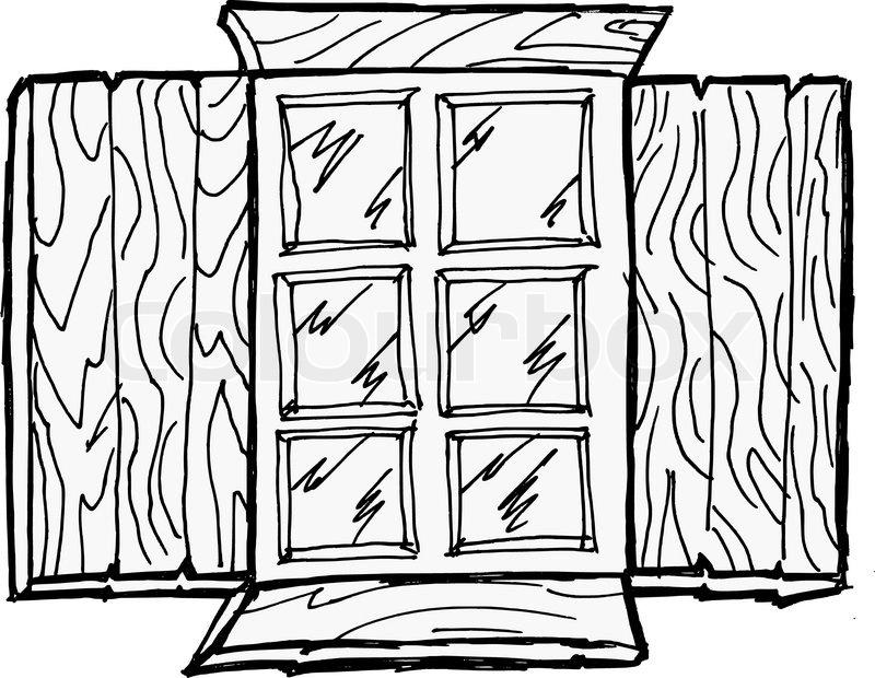 800x620 Old Wooden Window Stock Vector Colourbox