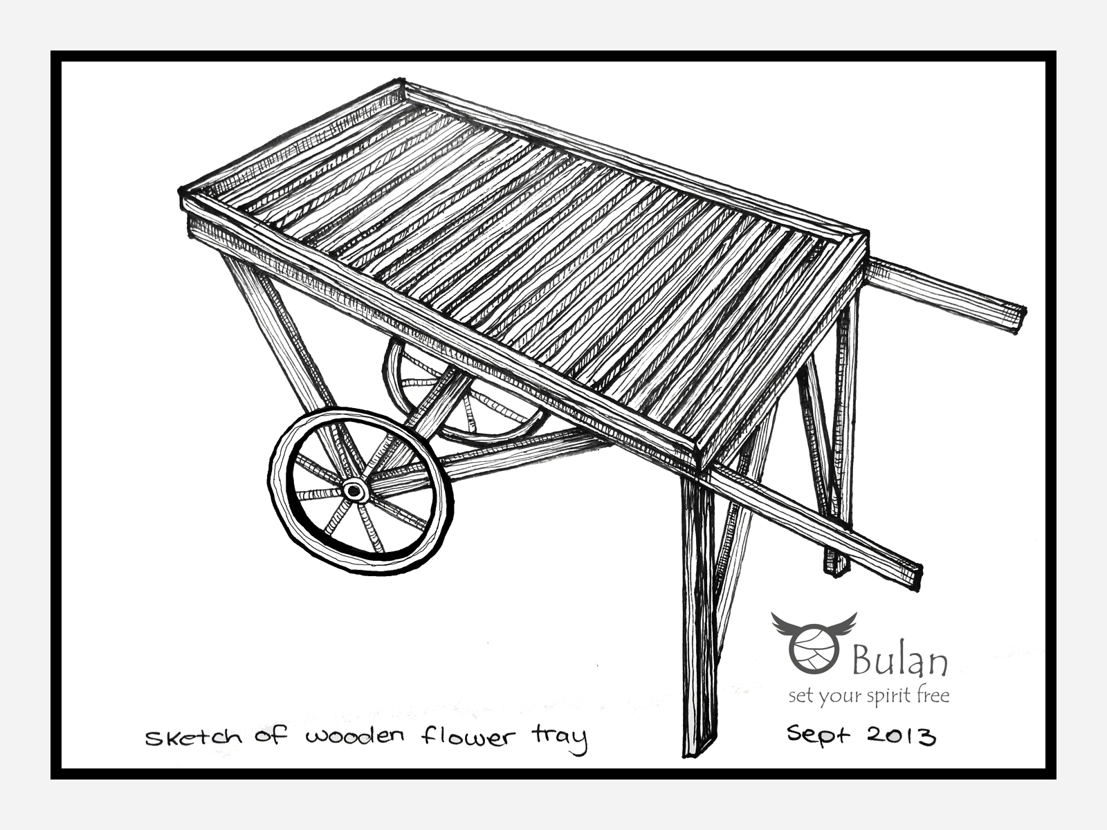 1600x1200 Sketch Of The Day No 141 Wooden Plant Trolley The Crazy Bag