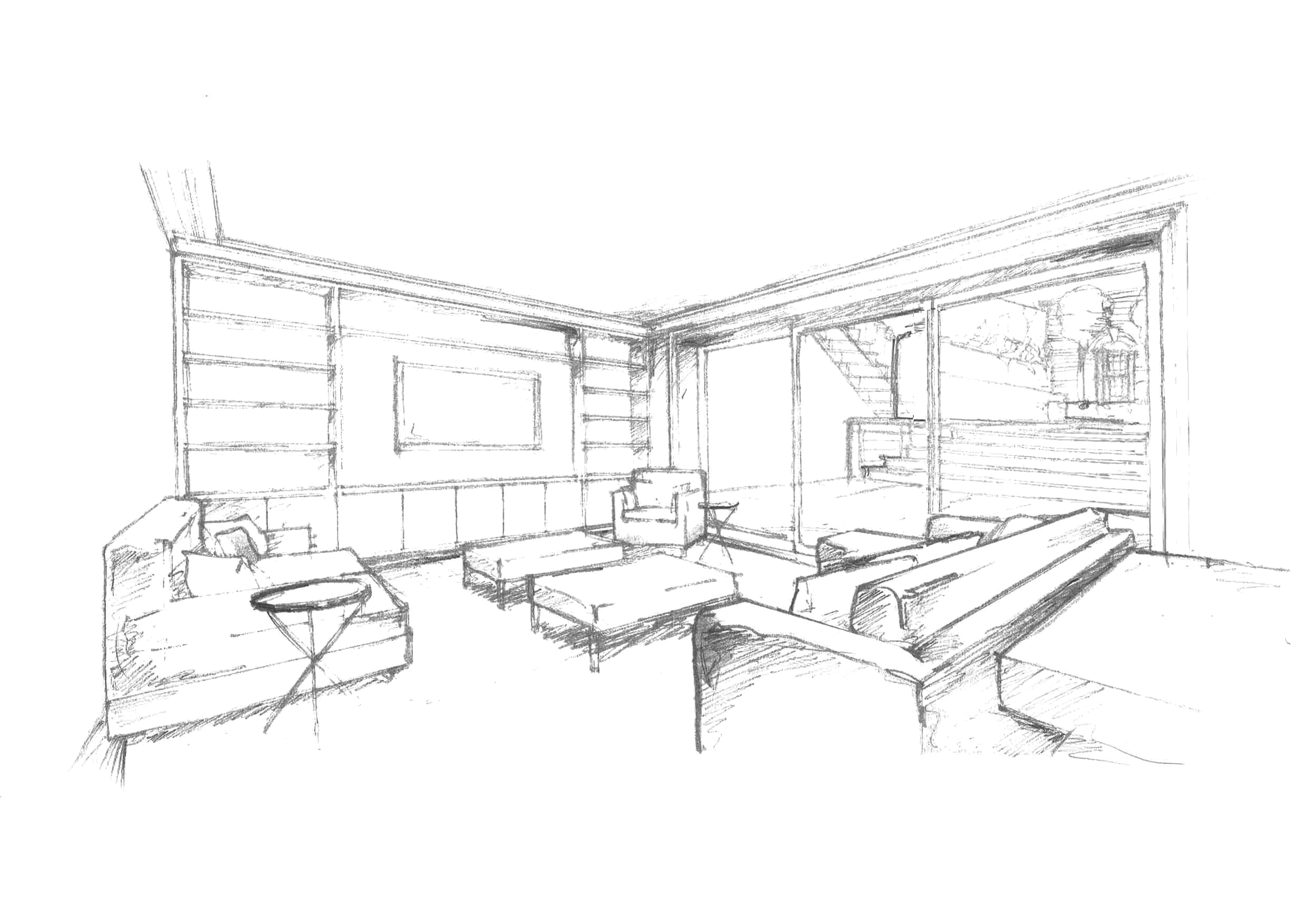 4959x3505 Small Living Room Concept And Drawing By Lauren Vancamp With Cool
