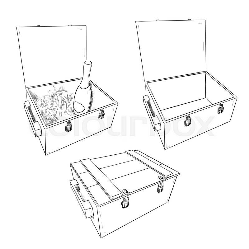 800x800 Vector Sketch Of Wooden Boxes. Set Of Open And Closed Boxes. Hand
