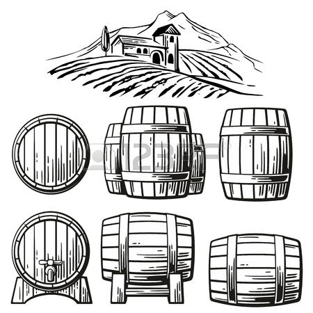 450x450 Wooden Barrel Freehand Pencil Drawing Isolated On White Background