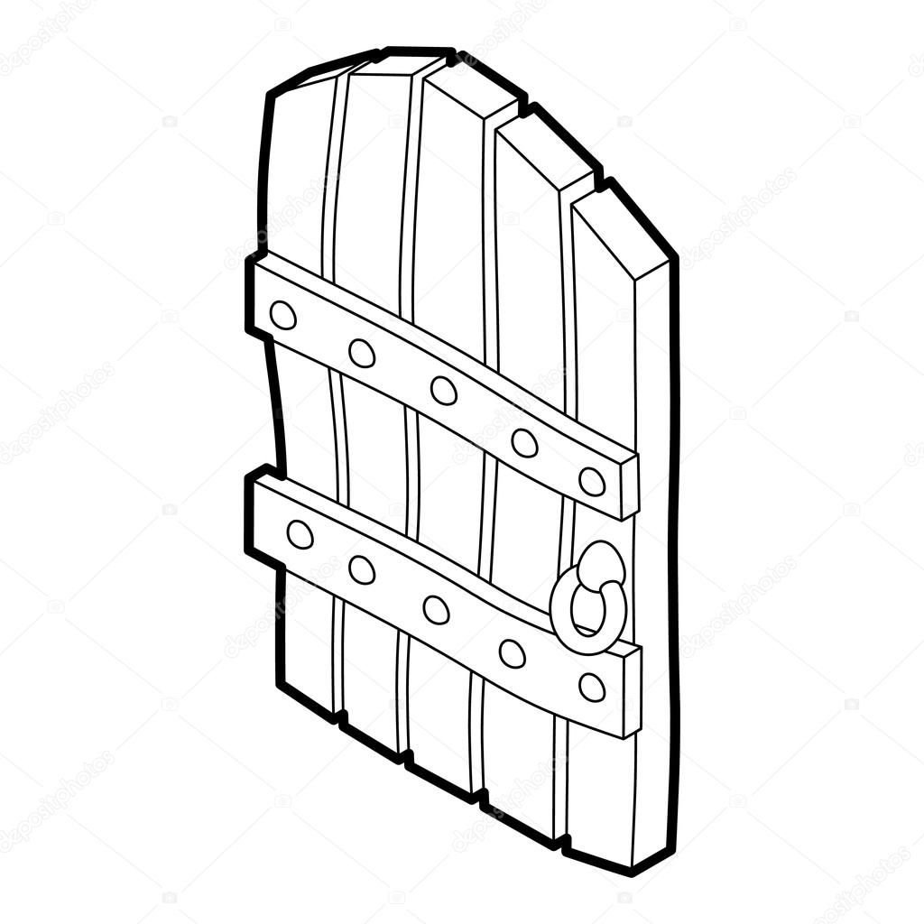 1024x1024 Arched Wooden Door Icon, Outline Style Stock Vector Ylivdesign