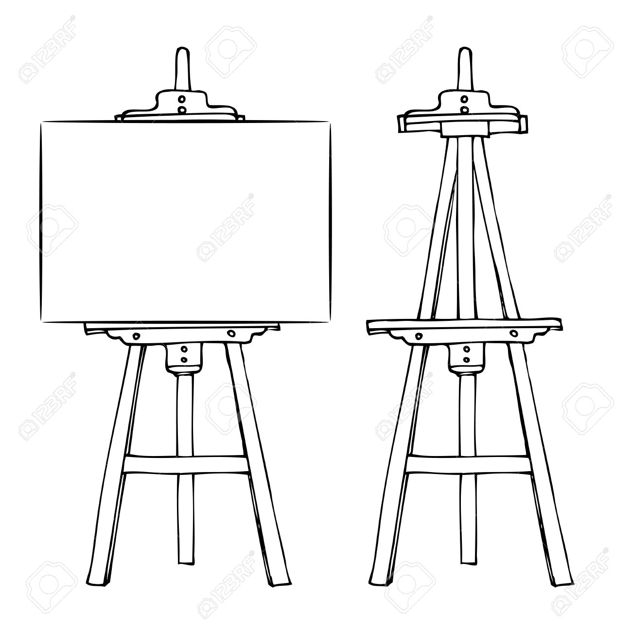1300x1300 Wooden Painting Easel With Blank Canvas Cartoon Black And White