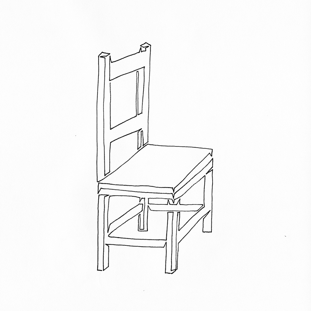 1024x1024 A Single Line Drawing Of A Wooden Chair With A Slight