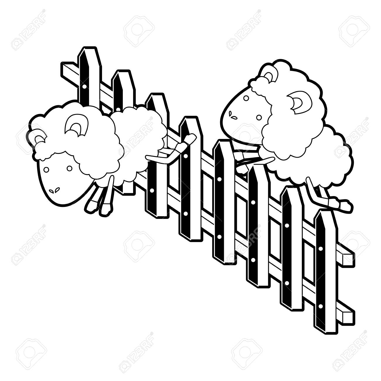 1300x1300 Sheep Animal Couple Jumping A Wooden Fence Black Color Section
