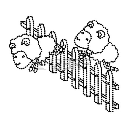 450x450 Sheep Animal Couple Jumping A Wooden Fence In Sketch Silhouette