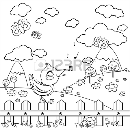 450x450 Small Country House, Meadow And Wooden Fence. Black And White