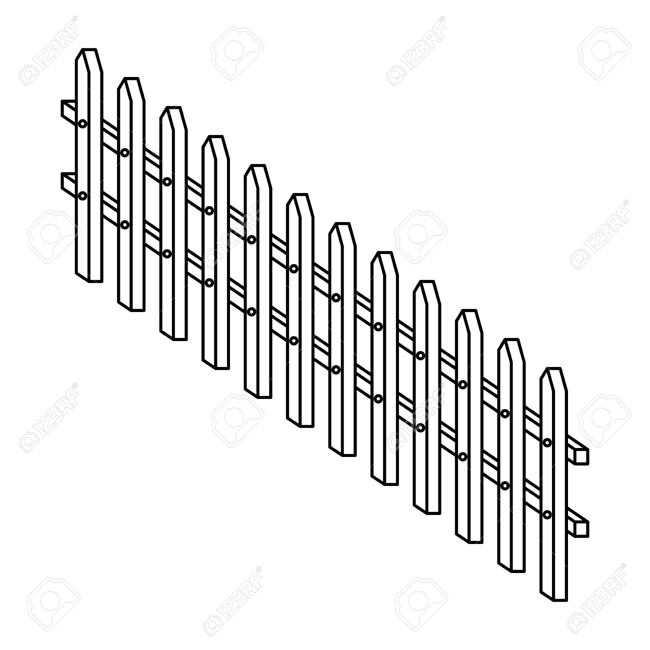 1300x1300 Wooden Fence Large Sketch Silhouette On White Background Vector
