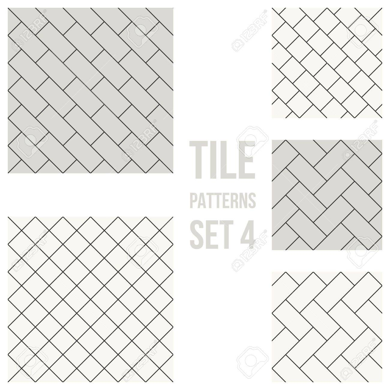 1300x1300 Set Of Thin Line Seamless Pattern Brick Tile, Use For Background
